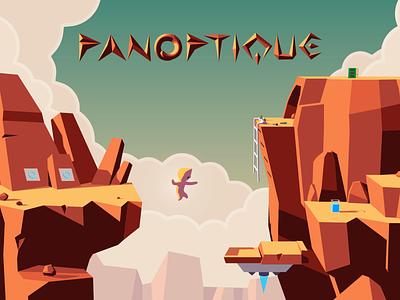 Panoptique Game Concept sci-fi rock 2d illustration polygonal character panoptique game adventure 3d