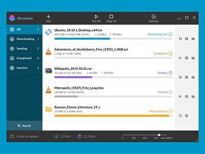 Oceanium application windows oceanium icons gui metro ux ui app download bittorent torrent