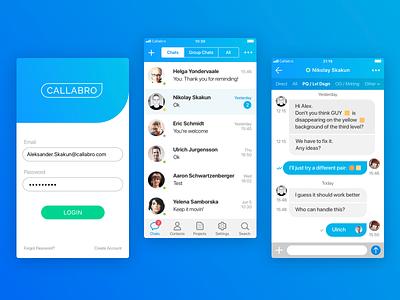 Callabro app interface chat message icon login messenger ios ux ui app callabro