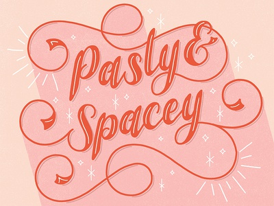 Pasty & Spacey sparkle ampersand ligatures lettering rhyme flourishes handlettering script swashes sketch swirl calligraphy