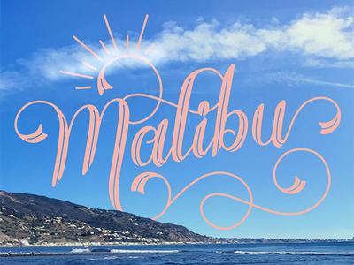 Malibu beach la california travel swashes calligraphy handmade type type hand lettering typography swirl swash script lettering ligatures malibu handlettering flourishes design