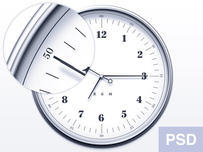 [PSD] Watch Icon rgrundig clean icon watch metal realistic typography clock psd free freebie