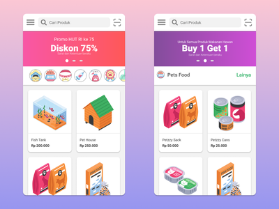 Petzzy UI - Home colorful ux flat app ui design