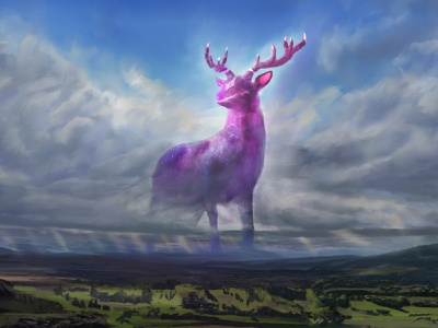 Sentinel of the Oaken Valley fantasy sentinel celestial deer landscape worldbuilding creature design