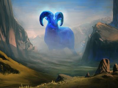 Sentinel of the Kartarjie Stones creature design creature creaturedesign worldbuilding fantasy art fantasy landscape celestial ram