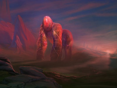 Sentinel of the Wrathlands worldbuilding painting landscape red fantasy design creature animal giant whimsical epic gorilla serenity kartar sentinel