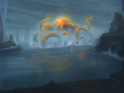 Sentinel of the Lazarian Sea design painting landscape rocks water fantasy worldbuilding kartar coast sea yellow orange kraken octopus creature sentinel