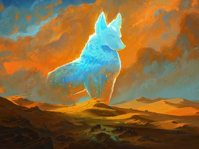 Sentinel of the Niamba Desert landscape fantasy serenity photoshop art concept blue orange color desert photoshop sentinel