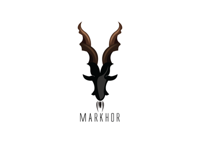 Markhor minimal flat illustrator branding logo vector illustration design