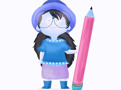 Pink Pencil digitalvector illustration autodesksketchbook