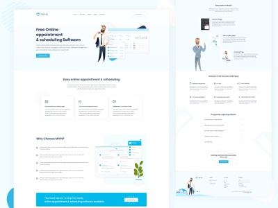 Landing page for MIYN. Free appointment  & scheduling app ui design uxdesign company appointment website applications application ui landing page