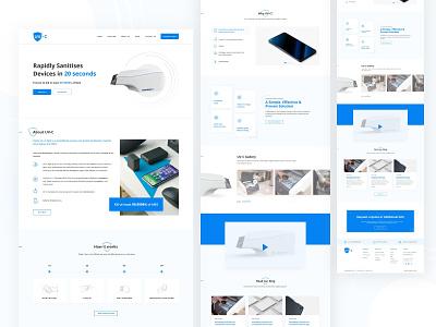 Homepage design for Mobile sanitize device minimal header landing page website