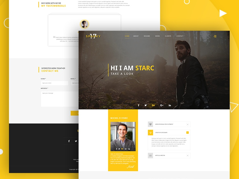Sparky17-PSD Template Free Download blog company corporate agency personal portfolio html themeforest spark psd template free download freebie