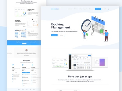 Booking Management App Website corporate company website ui illustration flat design pricing landing page management app booking app