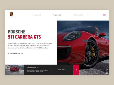 Porsche Carrera 911 GTS. uxdesign uidesign ui uiux 911 carrera gts porsche 911 card automobile super car sports car slider header web design