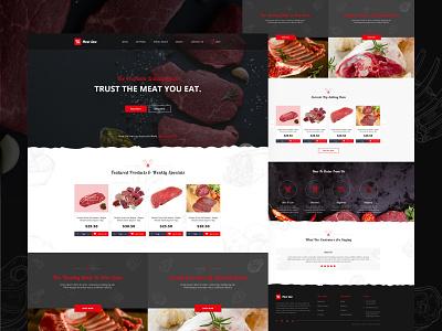 Online meat selling website design ui ux landing page website ui clean design shop butcher dark ui meats meat clean beef