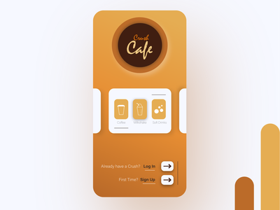 Crush Cafe UI Design cafe logo cafe type illustration ui logo minimal flat graphic design design branding app