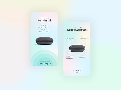 Google Home Mini UI Concept 1 google design home app app gradient design typography minimal illustrator website animation web icon ux ui