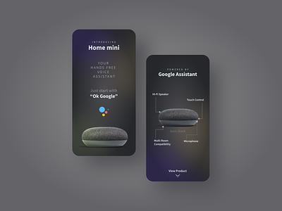 Google Home Mini UI Concept Dark Mode app design home automation google dark mode google design dark ui gradients gradient design ux ui graphic design minimal