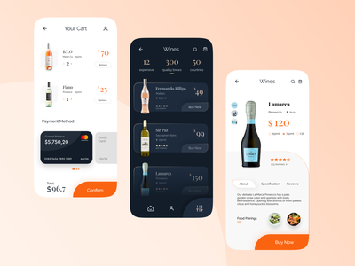 Winery UI Concept Part II uiux designer uiuxdesign bottle app creative design application design application ui adobe xd ecommerce shop concept winery wine label wine bottle browse product payment page product design wineui