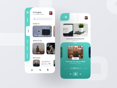 Podcast Exploration UI | Part 1 ui design podcasts music app music podcast side bar railbar ux uiux ui