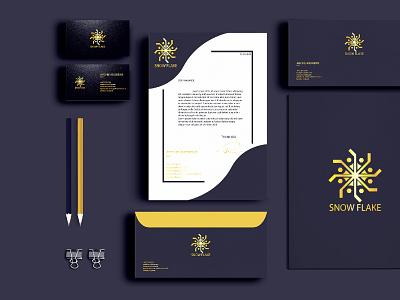 SNOWFLAKE STATIONARY FIVERR 2 01 d flat minimal business card design branding