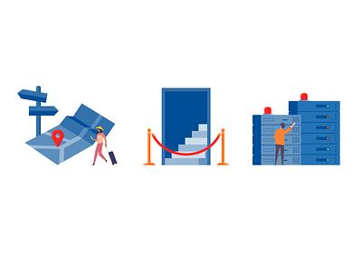 Illustrations for error pages vector illustration