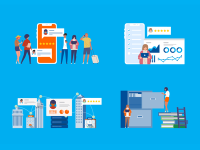 Public Review and Connectivity branding vector illustration