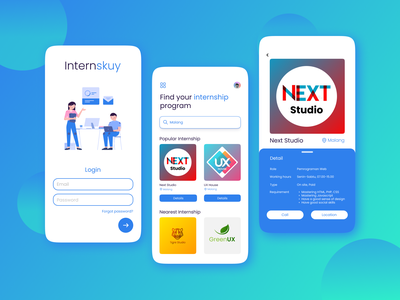Internskuy - Internship Mobile App uimobile mobileappdesign mobileapp mobile internshipapp internship app design app uidesign branding ui design