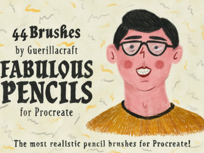 Fabulous Pencils for Procreate texture coloring illustrator illustrations children lead realistic retro vintage charcoal ipad chalks brushes procreate pencils