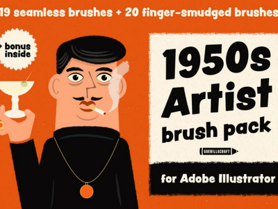 1950s Artist Brush Pack for Adobe Illustrator drawing art artist 1950s postcard clip art grain texture vector illustration comics illustrator vintage retro brushes