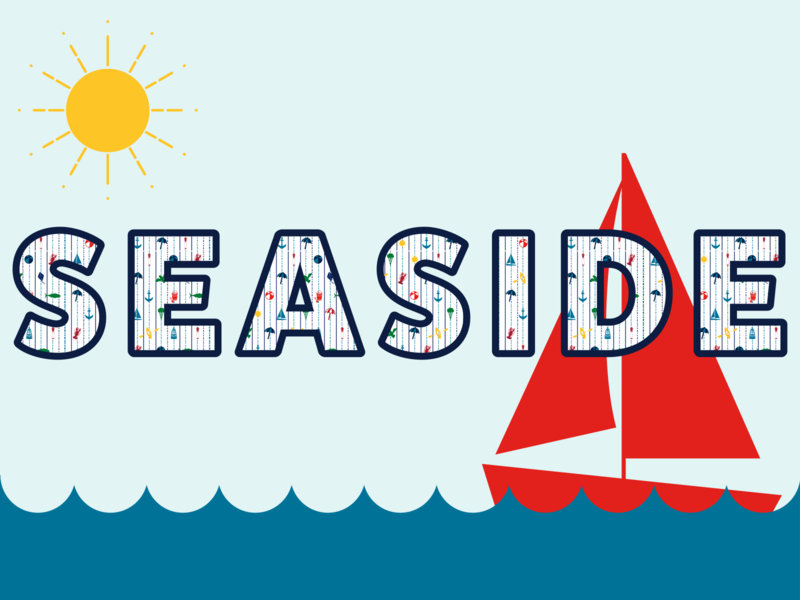 Seaside sun sailboat seaside pattern icons illustration