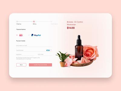 Credit Card Checkout moiturizer oil ux landingpage payment card credit checkout logo ui icon illustration graphic design design app branding animation 3d