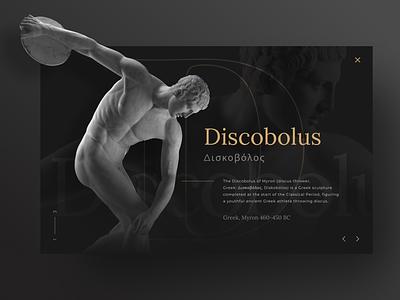 Discobolus   Web Presentation Concept onepage landing page black dark statue ui art presentation sculpture ancient greek website design intro template web screen website web design design graphic design