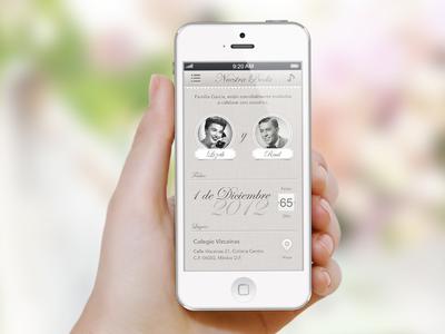 Wedding app main screen