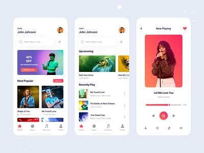 Music Mobile App app design home page mobile app player podcast app uiux song app song music didarulislam mhmanik02 devignedge music player music mobile app