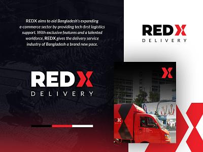Redx Delivery illustrator logistics logo red city corporate branding minimalist delivery curior modern cool awesome minimal lettering design agency branding brand identity logotype logo design logo