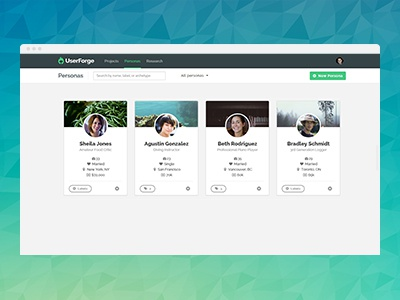 UserForge: Collaborative Persona Development App clean simple grid user persona interface application app web ui