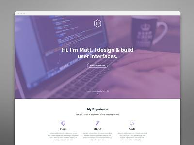 Personal Website portfolio freelance icons purple minimal clean grid personal website web
