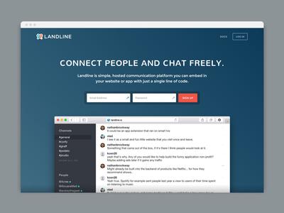 Hero section design for Landline gradient website hero