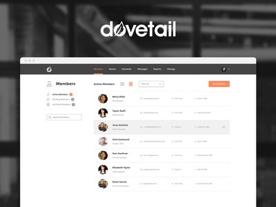 New Dovetail UI Design flat software simple coworking web app user interface application web