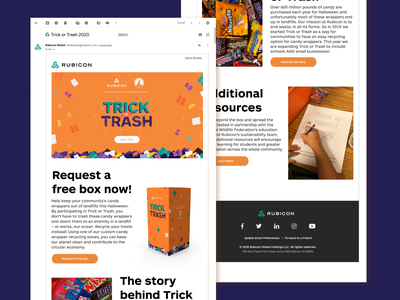 Trick or Trash | Campaign assets and animation design zero waste company halloween business incentive school stickers educational newsletters flyers recycle waste instagram gifs animation campaign adobe marketing