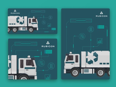 Dumpster Trucks city designs rubicon trucks waste management vector asset concept illustration recycle waste truck 2d inspiration graphic design digital design design