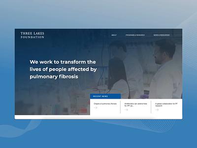 Three Lakes Foundation | Interaction medical blue pulmonary foundation medicine webdesign web branding logo interaction ux ui website 2d illustration inspiration graphic design digital design design