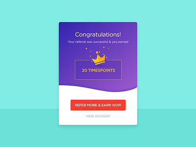 Congratulations! illustration app flat ui mobile crown earn refer points congratulations