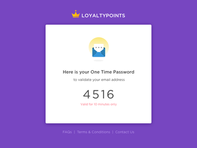 Here Is Your OTP verification icon illustration points loyalty yellow purple app otp mailer otp screen mobile crown