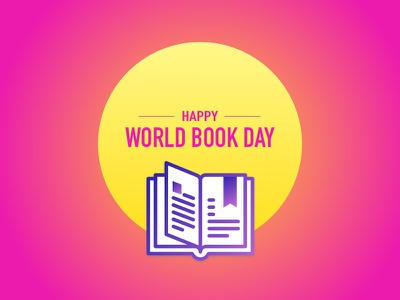 World Book Day poster banner ios blue yellow pink ux ui illustration day book world