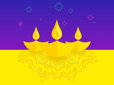 Happy Diwali! design pink fireworks purple yellow flat diwali