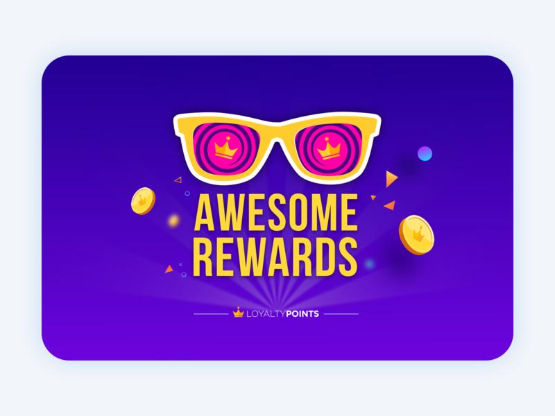 Awesome Rewards!! ios design pink coins crown icon typography logo yellow flat vector ux ui illustraion yello purple points reward card loyalty