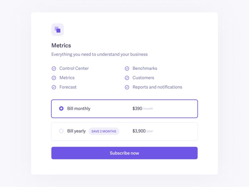 Select billing period widget baremetrics ui card billing pricing plan subscription